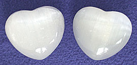 Selenite polished Hearts