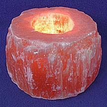 Peach Selenite Candle Holder