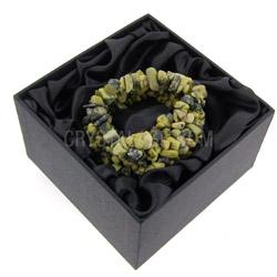 Yellow Serpentine Gemstone Chip Cuff Bracelet