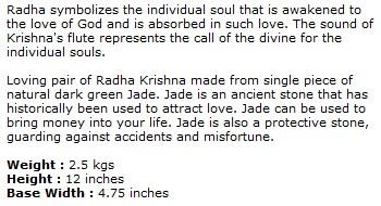 Green Jade Radha Krishna Statue