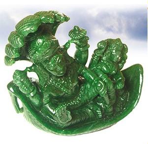 Green Jade Vishnu Lakshmi Statue