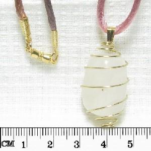 White JADE tumbled Gemstone spiral cage PENDANT