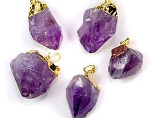 Natural Amethyst Point Pendants With gold or silver capping