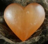Orange Selenite Puffy Heart